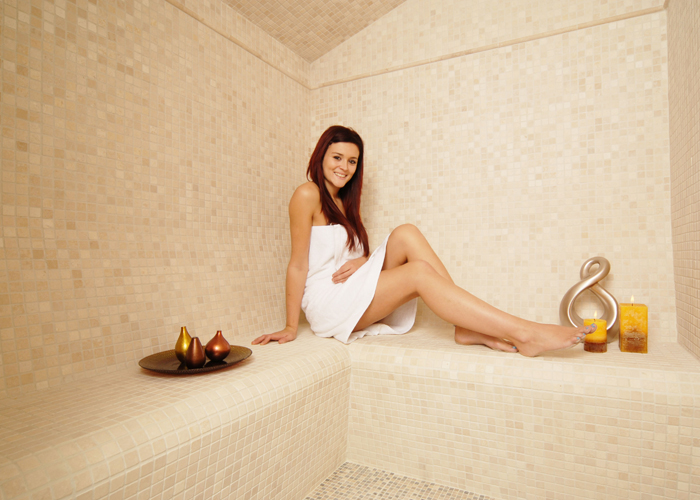 Oceanic Turkish Steam Room cream natural stone mosaics