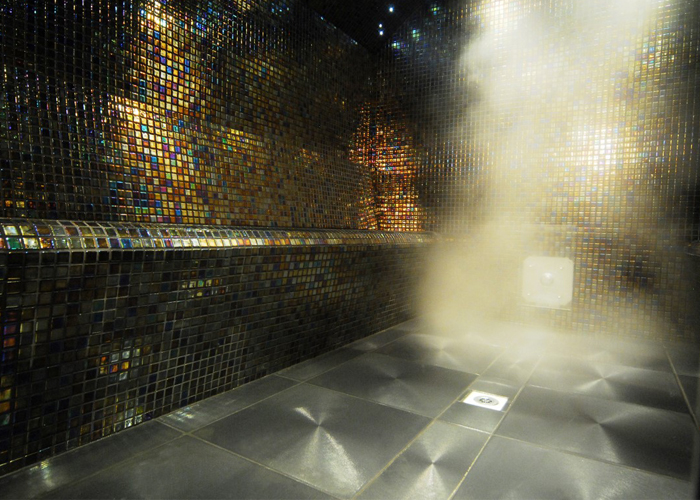 Oceanic Turkish Steam Room Petrol Black iridescent mosaic tiles