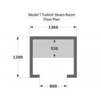 2 Person Home Turkish Steam Room Model 1 Floor Plan