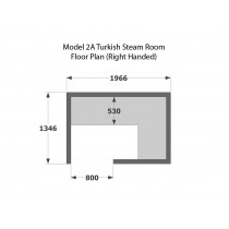2 Person Home Turkish Steam Room Model 2A Floor Plan