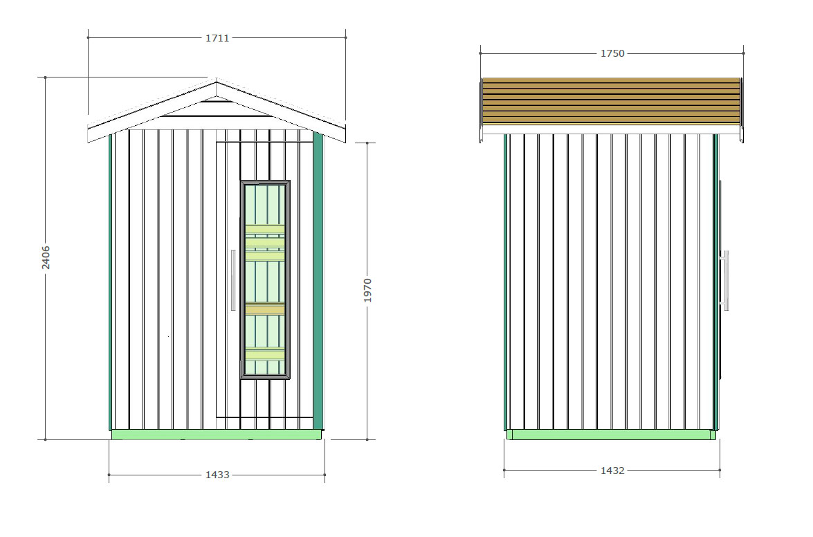 E2020 Outdoor Sauna Technical Drawings