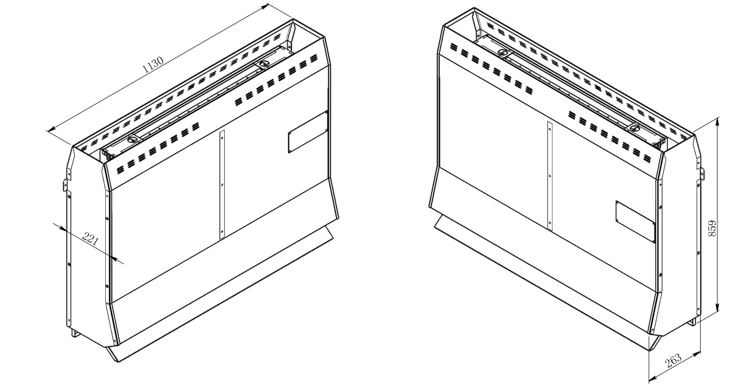 Oceanic behind bench sauna heater technical drawing