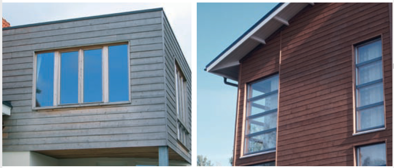 ThermoWood cladding after three years weather exposure with and without surface coatings